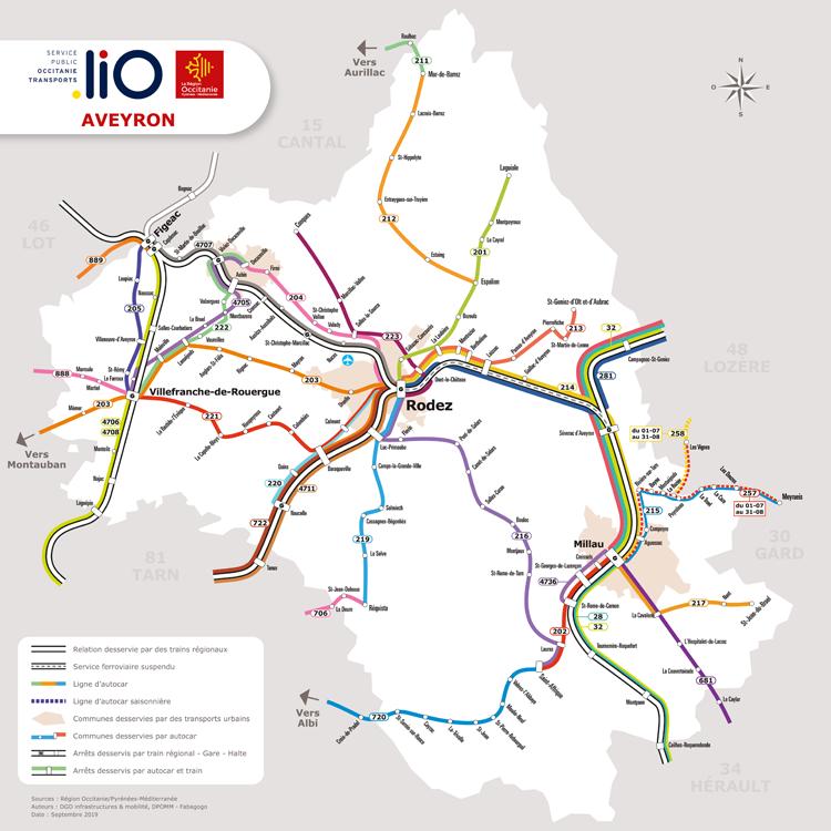 Carte du réseau de bus liO en Aveyron
